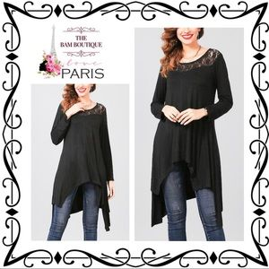 Plus Size Black Lace Handkerchief-Hem Tunic